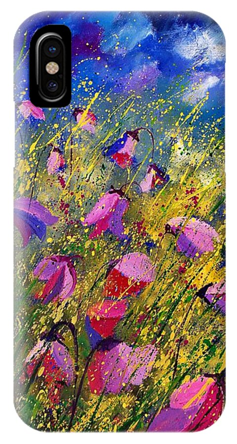 Poppies IPhone X Case featuring the painting Purple Wild Flowers by Pol Ledent