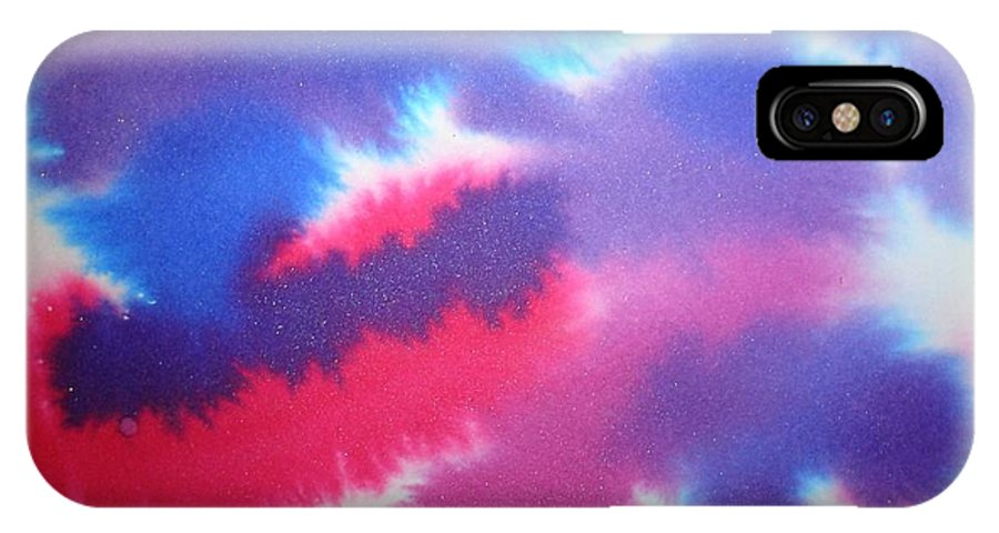 Abstract IPhone X Case featuring the painting Purple Wisp by Chandelle Hazen