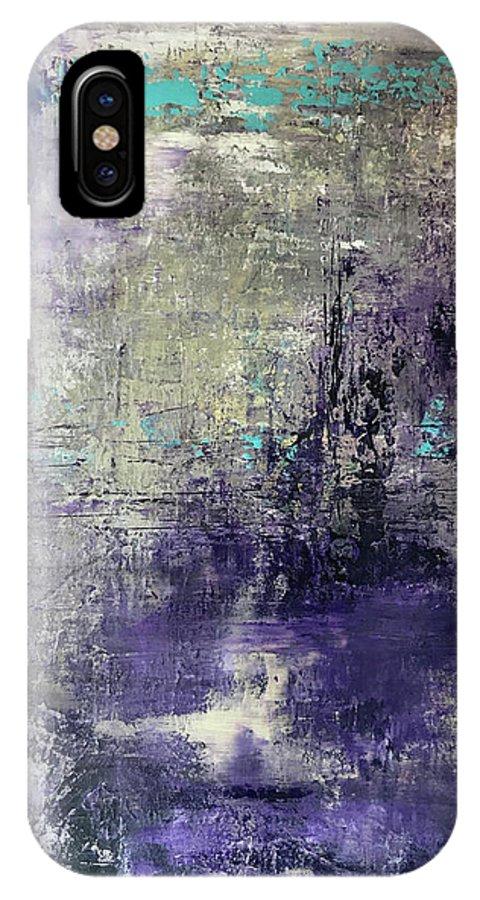 John Cammarano Abstract Painting Purple Blue Green IPhone X Case featuring the painting Purpletan by John Cammarano