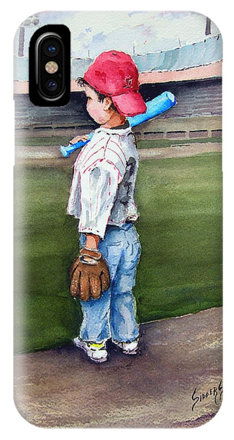 Baseball IPhone X Case featuring the painting Put Me In Coach by Sam Sidders