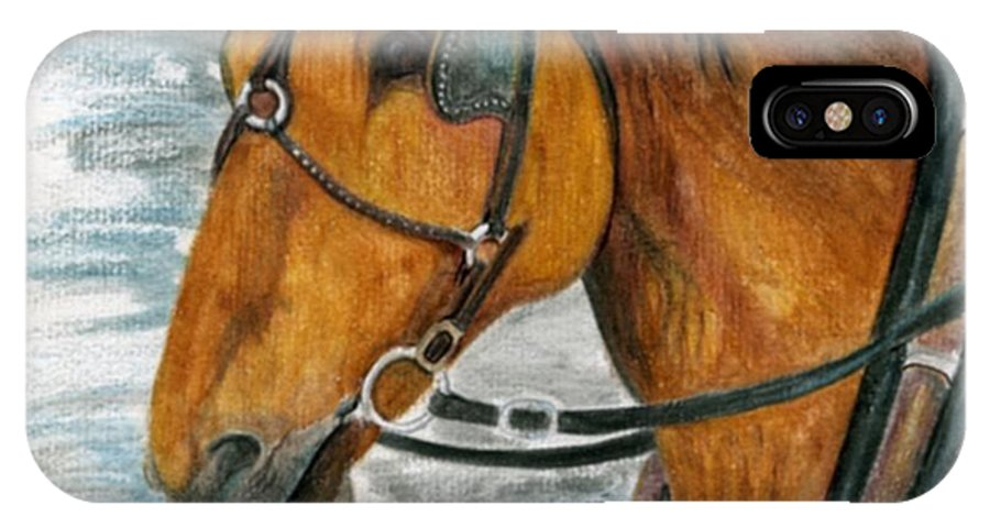 Horse IPhone X Case featuring the painting Putting In His Time by Mary Tuomi