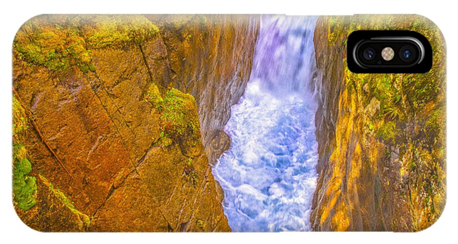 France IPhone X Case featuring the photograph Pyrenees Spanish Bridge Waterfall by Jean-luc Bohin