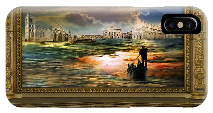 Surrealism Architecture Museum Gondola Italy Cloud Sky Sea Journey Landscape Pillar Shore Silhouette IPhone X Case featuring the photograph Quadro Nel Museo Del Surrealismo by Desislava Draganova