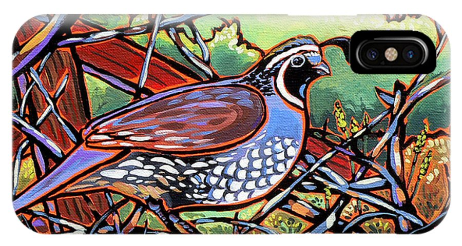 Quail IPhone X Case featuring the painting Quail by Nadi Spencer