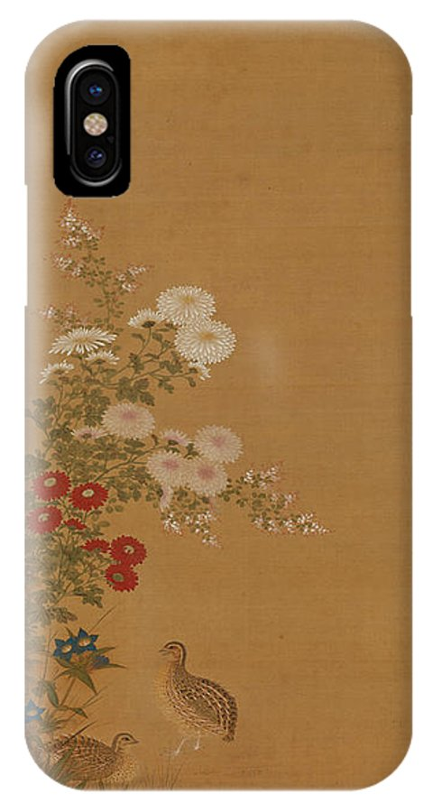 Tosa Mitsuoki IPhone X Case featuring the drawing Quail Under Autumn Flowers by Tosa Mitsuoki