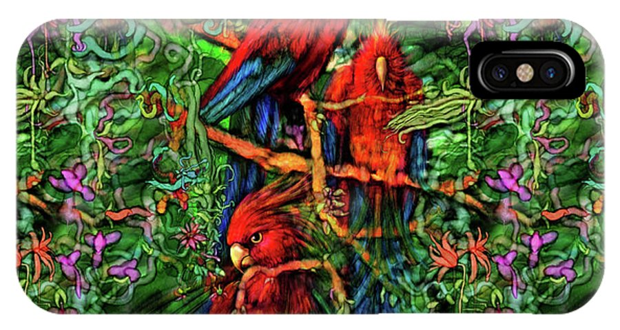 Avian IPhone X Case featuring the digital art Qualia's Parrots by Russell Kightley