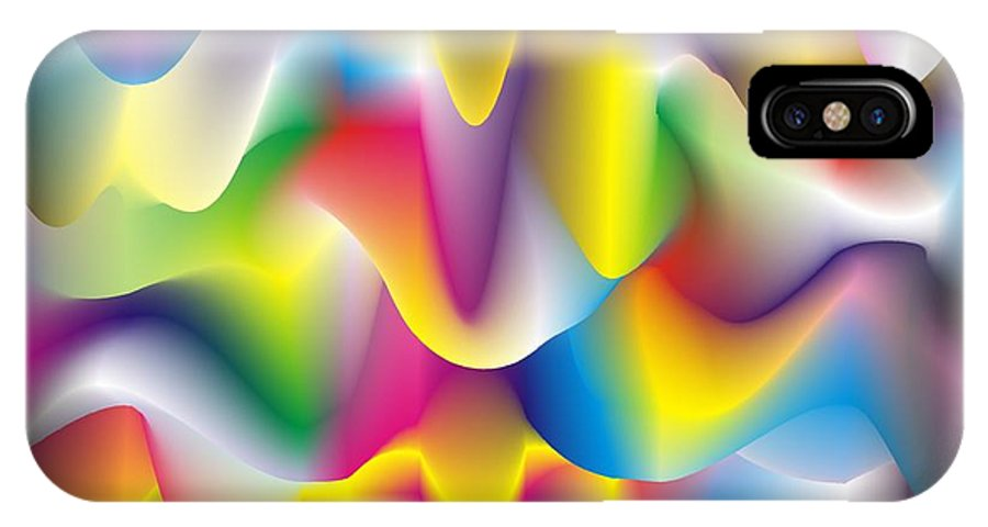 Abstract IPhone X Case featuring the digital art Quantum Landscape 1 by Walter Oliver Neal