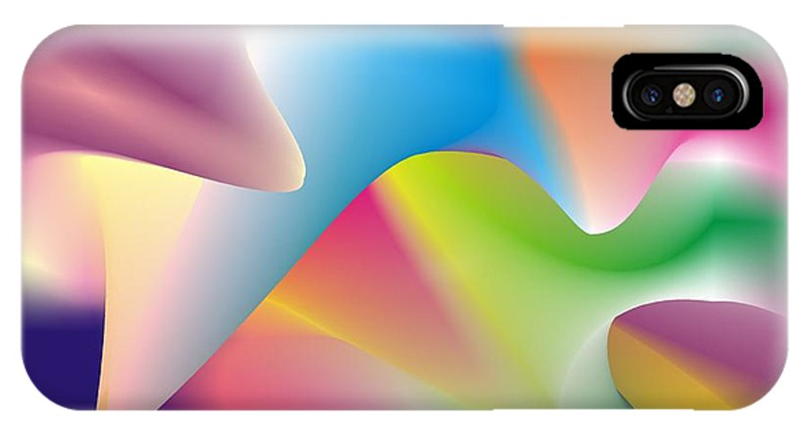 Abstract IPhone X Case featuring the digital art Quantum Landscape 2 by Walter Oliver Neal