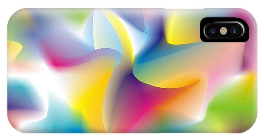 Abstract IPhone X Case featuring the digital art Quantum Landscape 4 by Walter Neal