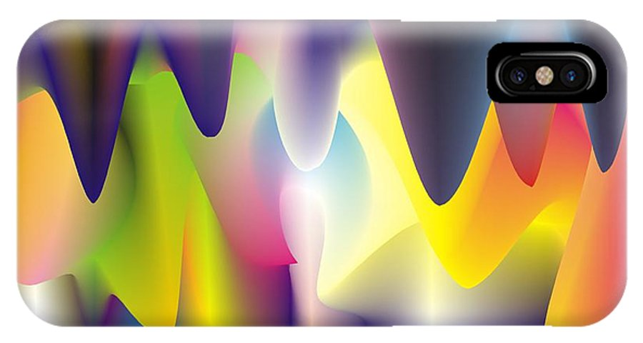 Abstract IPhone X Case featuring the digital art Quantum Landscape 6 by Walter Oliver Neal