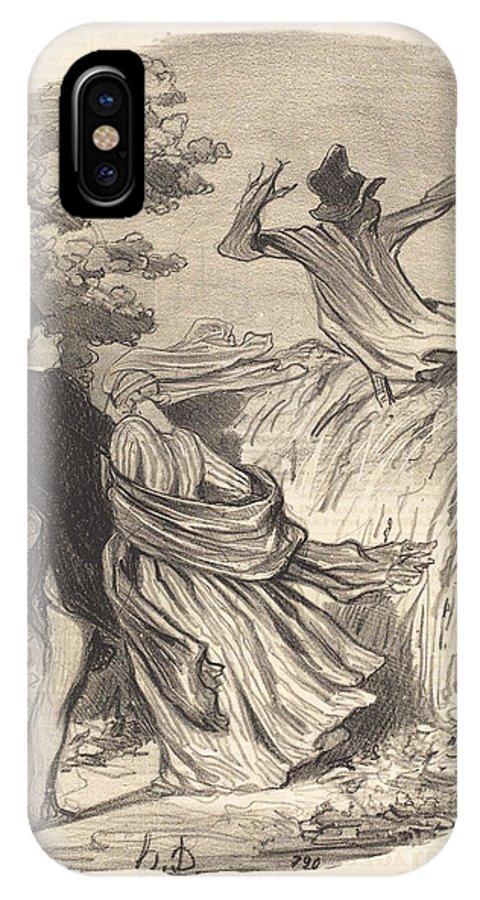 IPhone X Case featuring the drawing Que Nous Sommes B?tes D'avoir Une Peur Pareille... by Honor? Daumier