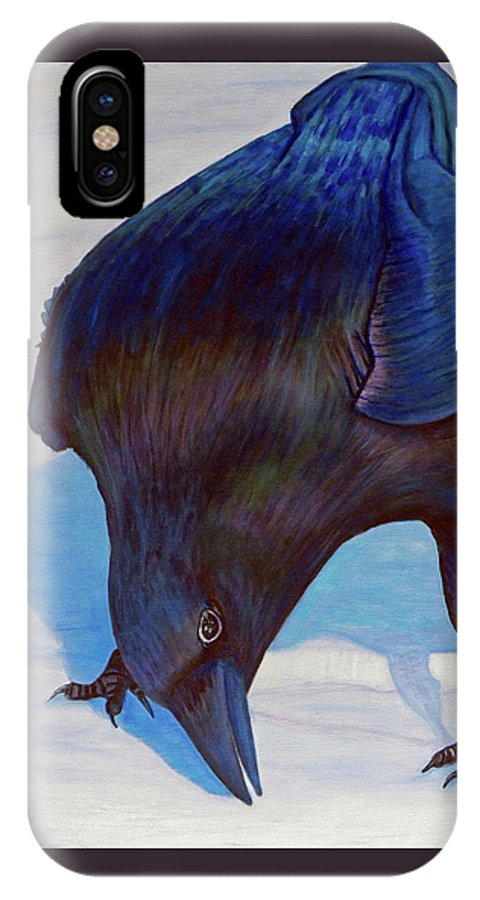 Raven IPhone X Case featuring the painting Que Pasa by Brian Commerford