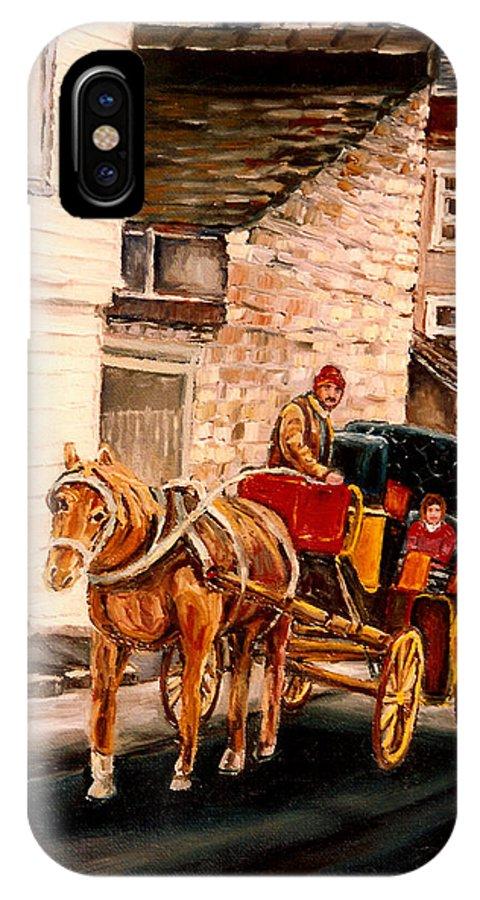 Quebec City Carriage Ride IPhone X Case featuring the painting Quebec City Carriage Ride by Carole Spandau