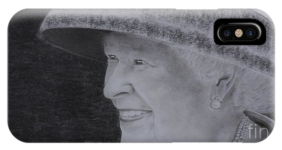The Queen On Her Visit To Canada 2010 IPhone X / XS Case featuring the drawing Queen Elizabeth II by Lise PICHE
