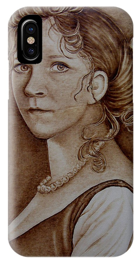Pyrography IPhone X Case featuring the pyrography Queen Of Prussia by Jo Schwartz