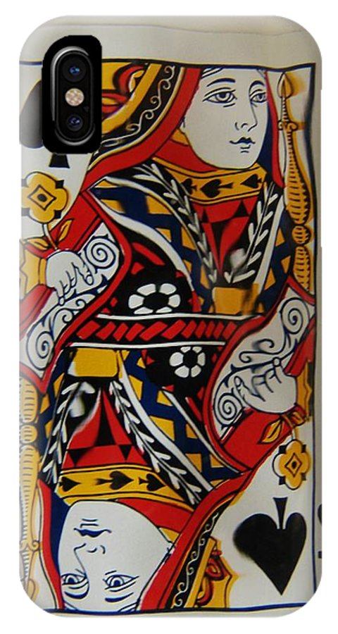 Abstract IPhone X Case featuring the photograph Queen Twice by Florene Welebny