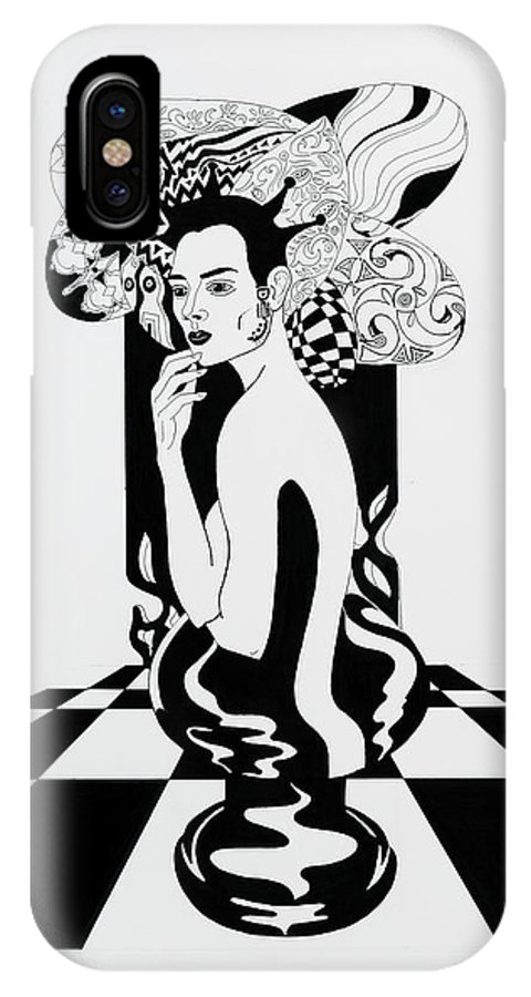 Surreal IPhone Case featuring the drawing Queen by Yelena Tylkina