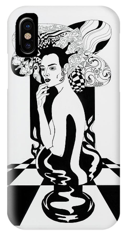 Surreal IPhone X Case featuring the drawing Queen by Yelena Tylkina