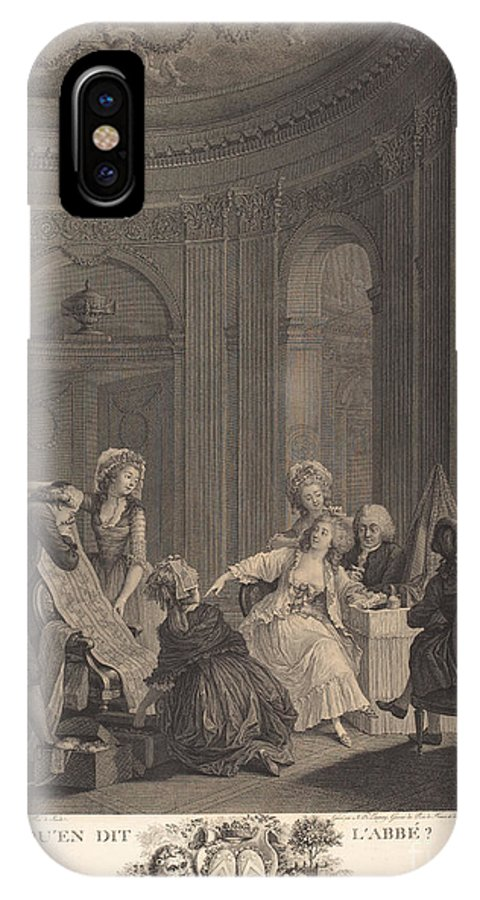 IPhone X Case featuring the drawing Qu'en Dit L'abb?? by Nicolas Delaunay After Nicolas Lavreince
