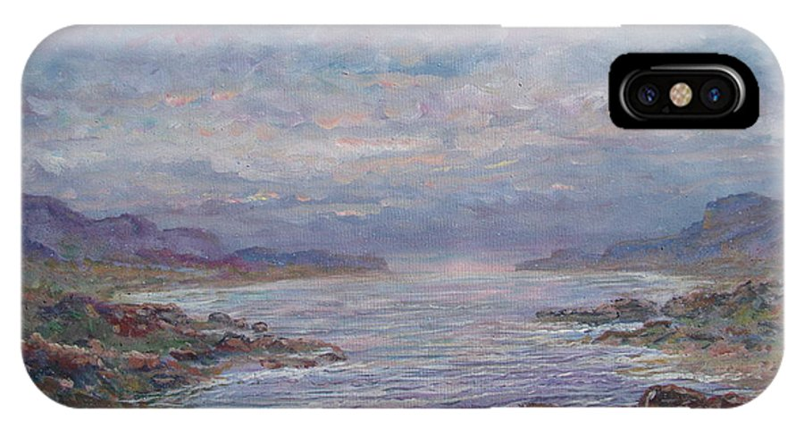Painting IPhone X Case featuring the painting Quiet Bay. by Leonard Holland