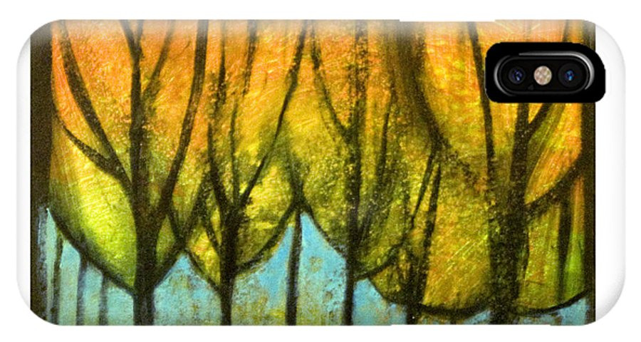 Trees IPhone X Case featuring the painting Quiet Blaze by Tim Nyberg