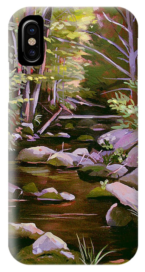 Peoples State Forest IPhone X Case featuring the painting Quiet Brook by Nancy Griswold