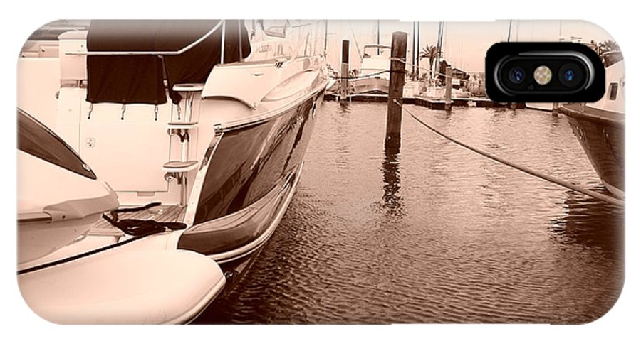 Boats IPhone X Case featuring the photograph Quiet Marina by Laurette Escobar