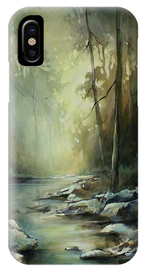 Landscape IPhone X Case featuring the painting Quiet Moment by Michael Lang