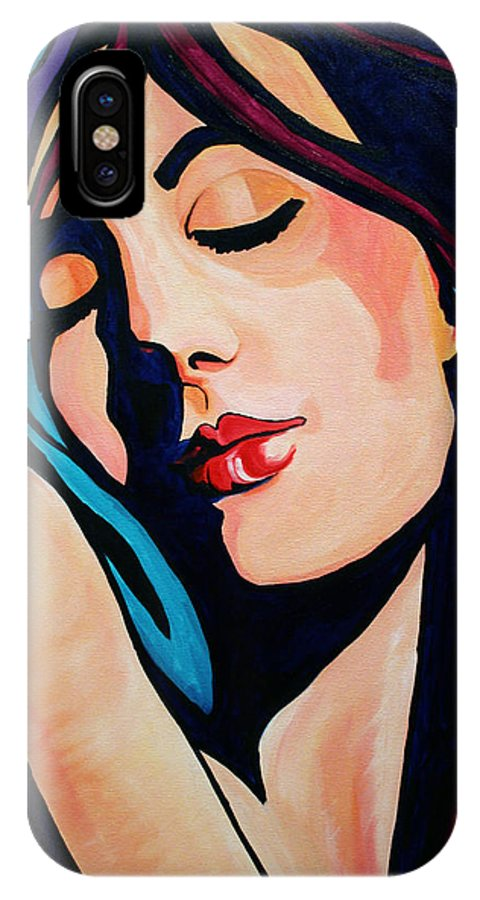 Pop Art IPhone Case featuring the painting Quiet Night With You by Laurie Pace