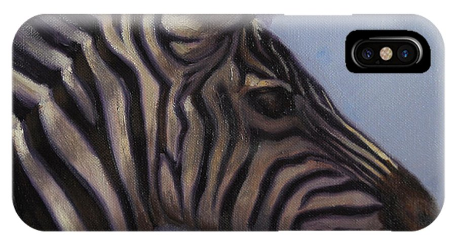 Zebra IPhone Case featuring the painting Quiet Profile by Greg Neal