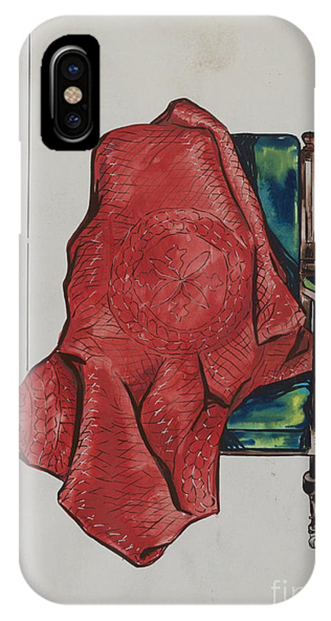 IPhone X Case featuring the drawing Quilt by Sebastian Simonet