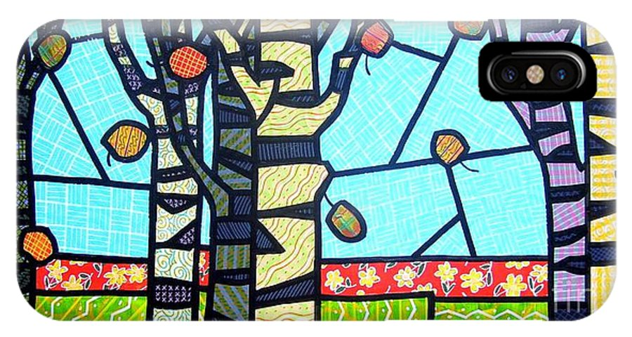 Birch Trees IPhone Case featuring the painting Quilted Birch Garden by Jim Harris