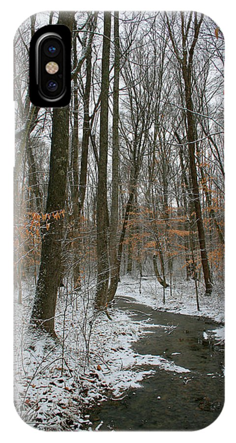 Forest Woods Water Winter Tree Snow Cold Season Nature IPhone X Case featuring the photograph Quite Path by Andrei Shliakhau