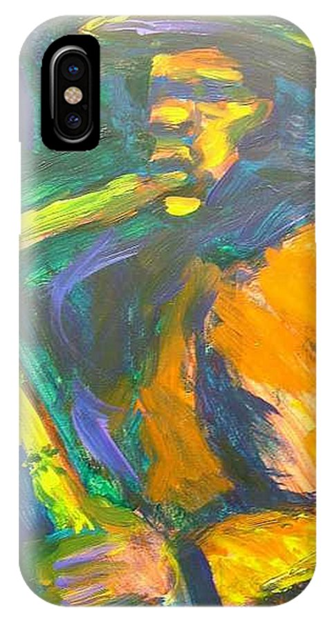 Painting IPhone X Case featuring the painting R-night Jam by Jan Gilmore
