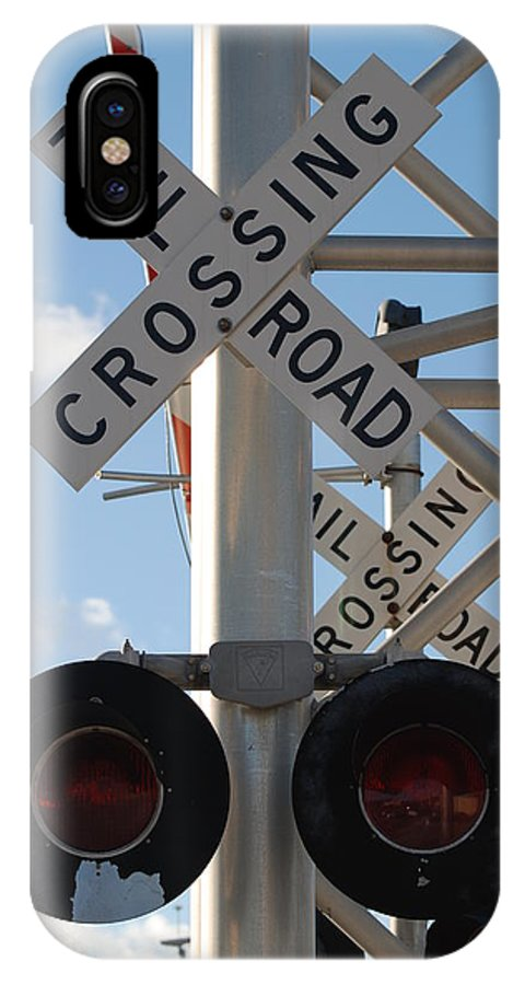 Train IPhone X Case featuring the photograph R X R Crossing by Rob Hans