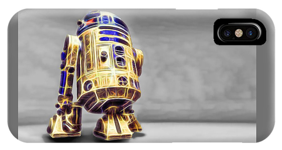 Starwars IPhone X Case featuring the digital art R2 Feeling Happy by Scott Campbell