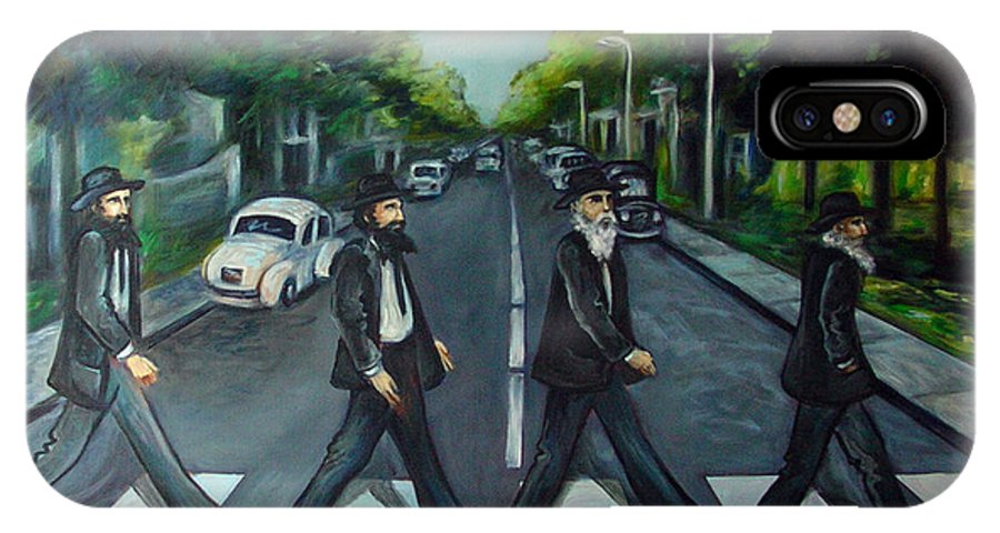 Surreal IPhone X Case featuring the painting Rabbi Road by Valerie Vescovi