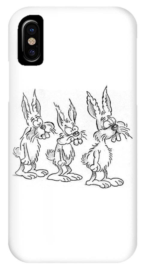 Rabbits IPhone X / XS Case featuring the drawing Rabbits by Ersin Ipek