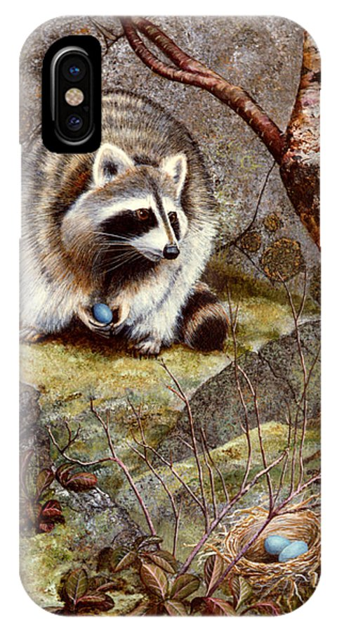 Raccoon Found Treasure IPhone X Case featuring the painting Raccoon Found Treasure by Frank Wilson