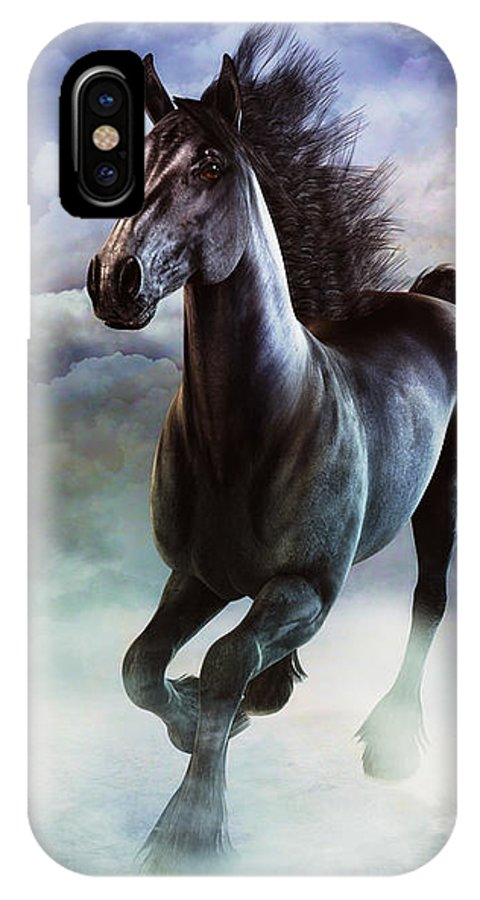 Horse IPhone X Case featuring the digital art Racing The Storm by Tori Beveridge