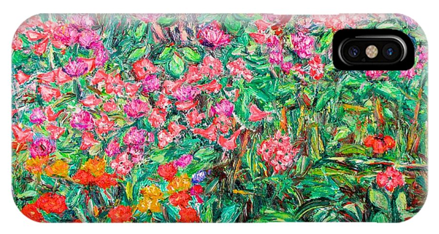 Kendall Kessler IPhone X Case featuring the painting Radford Flower Garden by Kendall Kessler