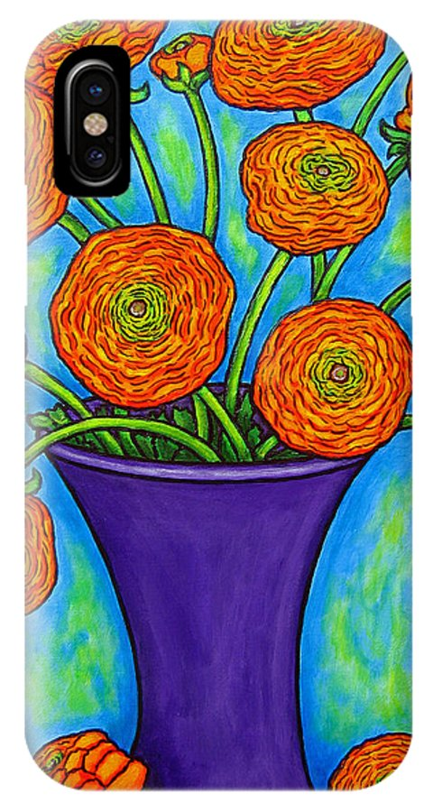 Green IPhone X / XS Case featuring the painting Radiant Ranunculus by Lisa Lorenz