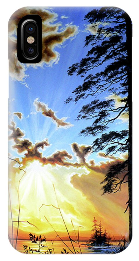 Sunrise IPhone X Case featuring the painting Radiant Reflection by Hanne Lore Koehler