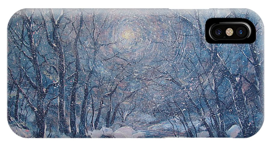Snow Landscape IPhone X Case featuring the painting Radiant Snow Scene by Leonard Holland