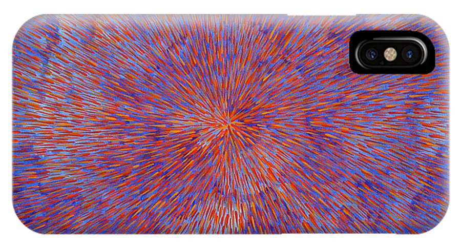 Abstract IPhone X Case featuring the painting Radiation With Blue And Red by Dean Triolo