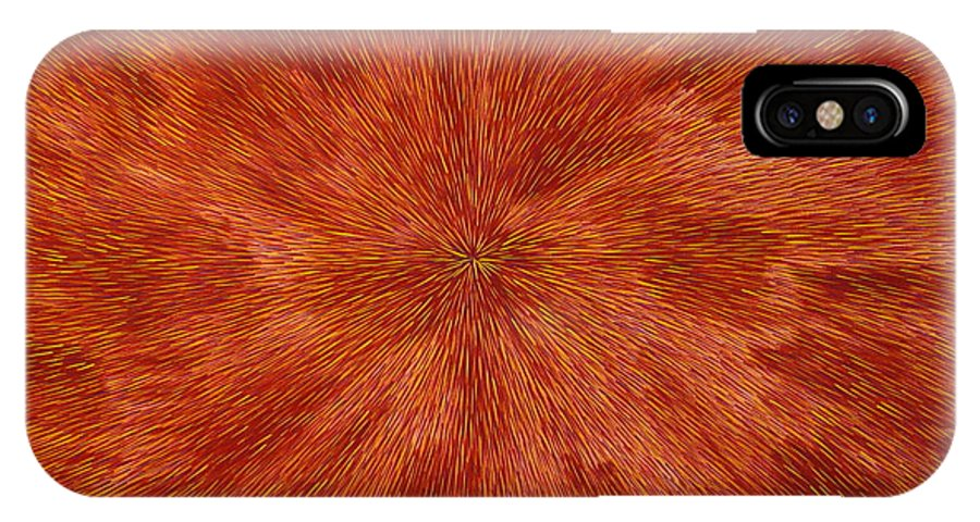 Abstract IPhone X Case featuring the painting Radiation with Brown Yellow and Voilet by Dean Triolo