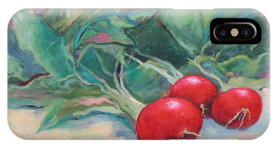 Radishes IPhone X Case featuring the painting Radishes by Ginger Concepcion
