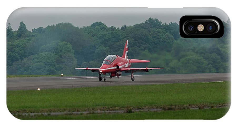 Red IPhone X Case featuring the photograph Raf Red Arrow Jet Lands by Philip Pound