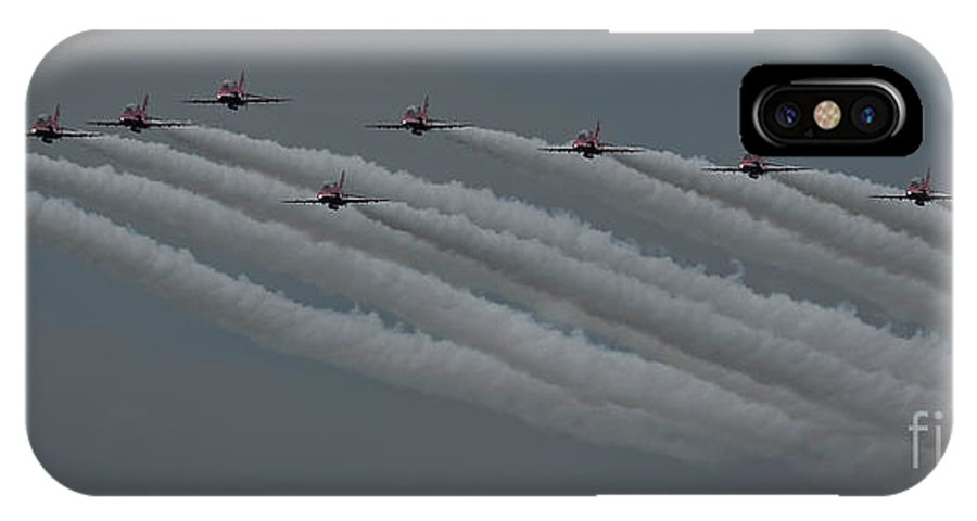 Red IPhone X Case featuring the photograph Raf Red Arrows In Formation by Philip Pound