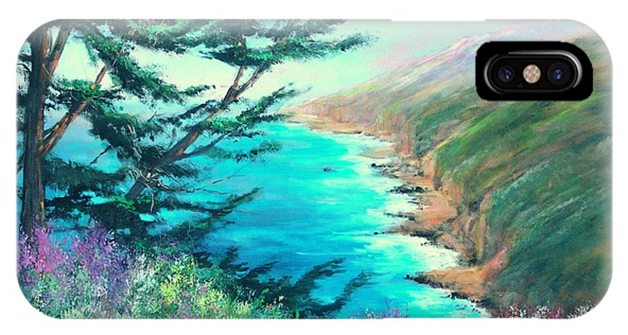 Ocean IPhone X Case featuring the painting Ragged Point by Sally Seago
